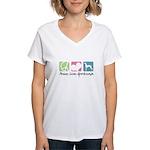 Peace, Love, Greyhounds Women's V-Neck T-Shirt