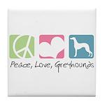 Peace, Love, Greyhounds Tile Coaster