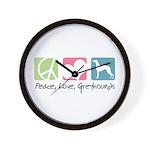 Peace, Love, Greyhounds Wall Clock