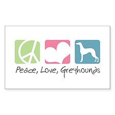 Peace, Love, Greyhounds Decal
