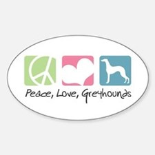 Peace, Love, Greyhounds Decal