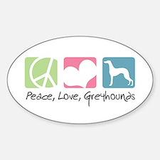 Peace, Love, Greyhounds Sticker (Oval)