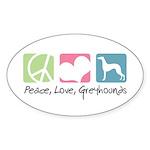 Peace, Love, Greyhounds Sticker (Oval 50 pk)