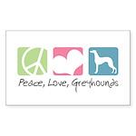 Peace, Love, Greyhounds Sticker (Rectangle 10 pk)