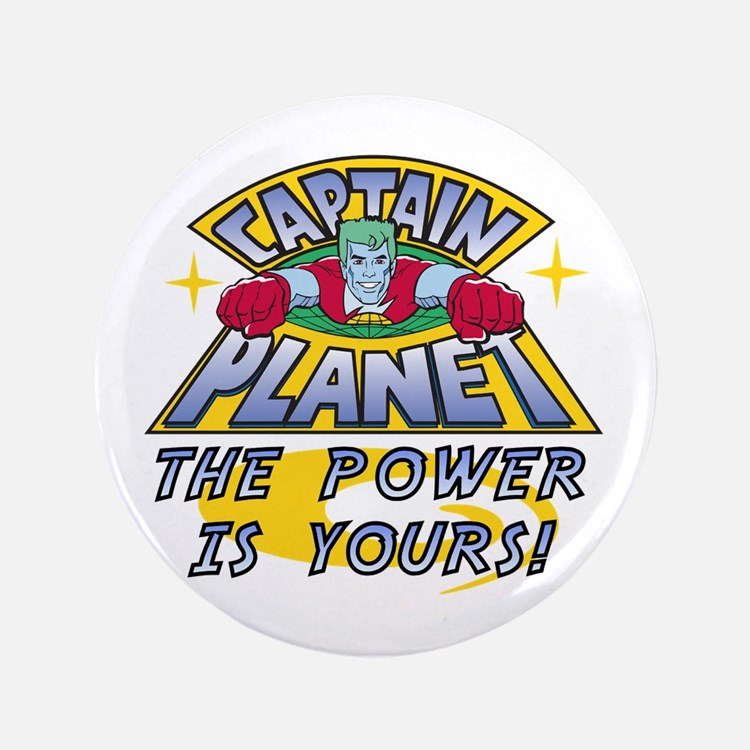 """Captain Planet Power 3.5"""" Button"""