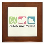 Peace, Love, Maltese Framed Tile