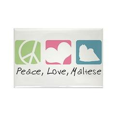 Peace, Love, Maltese Rectangle Magnet (10 pack)