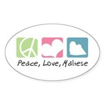 Peace, Love, Maltese Sticker (Oval 50 pk)