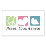 Peace, Love, Maltese Sticker (Rectangle 50 pk)
