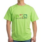 Peace, Love, Pomeranians Green T-Shirt
