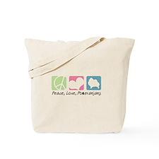 Peace, Love, Pomeranians Tote Bag