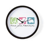 Peace, Love, Pomeranians Wall Clock