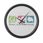 Peace, Love, Pomeranians Large Wall Clock