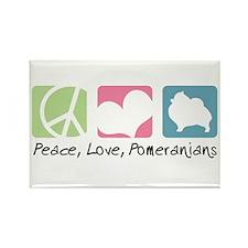 Peace, Love, Pomeranians Rectangle Magnet