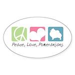 Peace, Love, Pomeranians Sticker (Oval 10 pk)