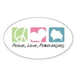 Peace, Love, Pomeranians Sticker (Oval 50 pk)