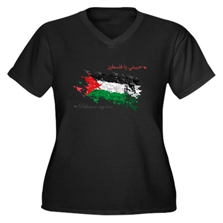 Peace and Love from Palestine Women's Plus Size V-