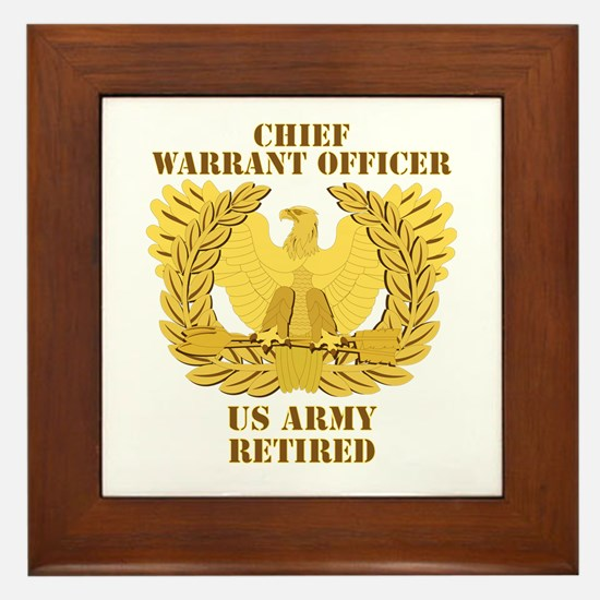 Army - Emblem - CWO Retired Framed Tile