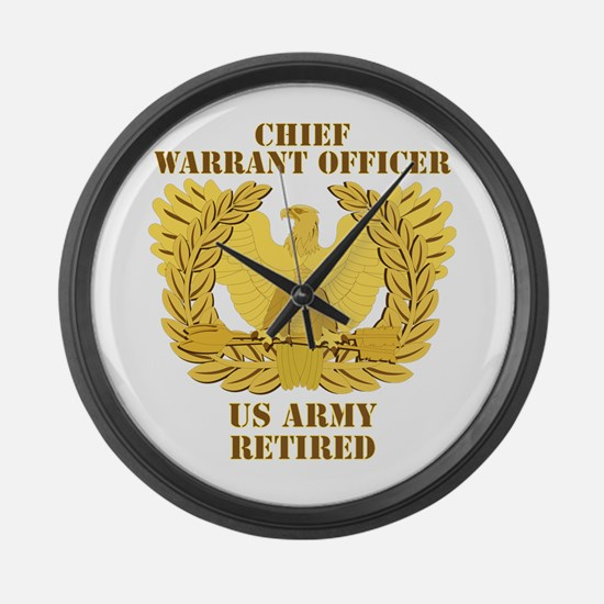 Army - Emblem - CWO Retired Large Wall Clock