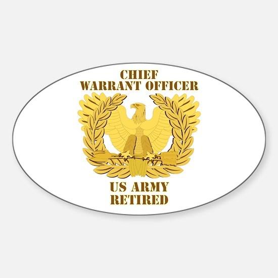Army - Emblem - CWO Retired Sticker (Oval)