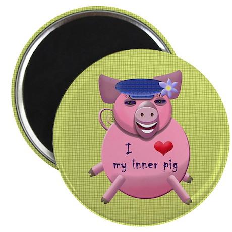 """I love my inner pig 2.25"""" Magnet (10 pack)"""