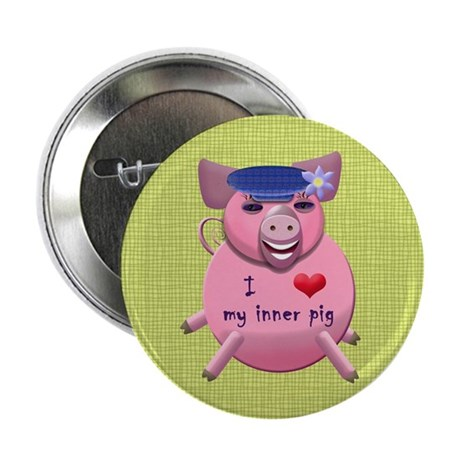 """I love my inner pig 2.25"""" Button (10 pack)"""