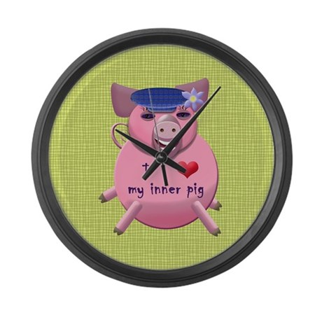 I love my inner pig Large Wall Clock