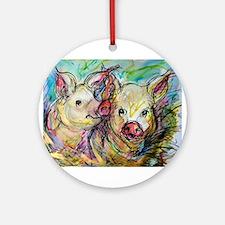 Pig Pair, cute, art, Ornament (Round)
