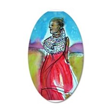 African, Lady, Colorful, art, 22x14 Oval Wall Peel