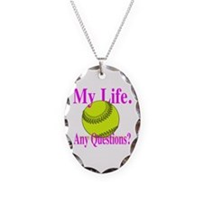 Girls Softball Necklace Oval Charm