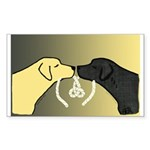 Black & Yellow Labrador Tying Knot Sticker