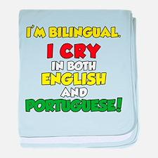 I'm Bilingual Cry Portuguese baby blanket