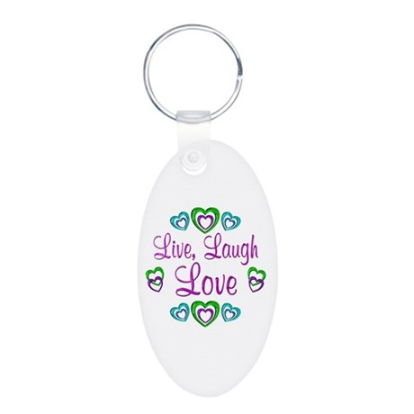 Live Laugh Love Aluminum Oval Keychain