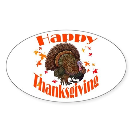 Happy Thanksgiving Sticker (Oval)