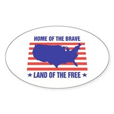 Home of the Brave Oval Bumper Stickers