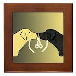 Black & Yellow Labrador Tying Knot Framed Tile