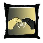 Black & Yellow Labrador Tying Knot Throw Pillow