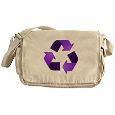 Purple Recycling Symbol Messenger Bag
