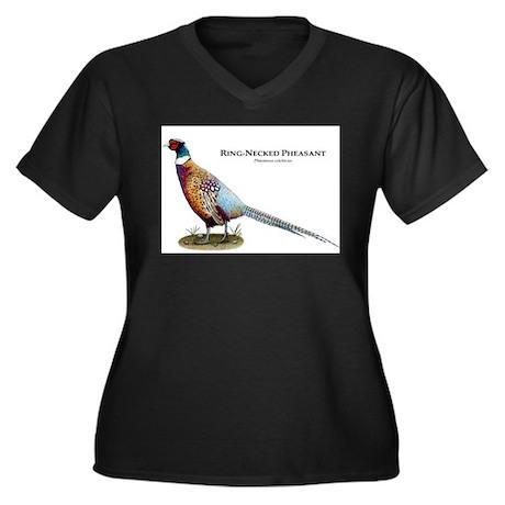 Ring-Necked Pheasant Women's Plus Size V-Neck Dark