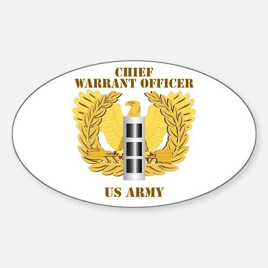 Army - Emblem - Warrant Officer CW3 Sticker (Oval)