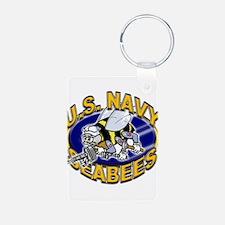 USN Navy Seabees Mad Bee Aluminum Photo Keychain