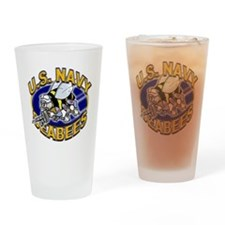 USN Navy Seabees Mad Bee Drinking Glass