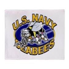 USN Navy Seabees Mad Bee Throw Blanket