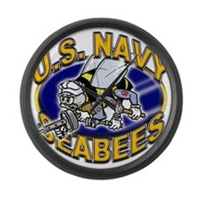 USN Navy Seabees Mad Bee Large Wall Clock