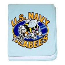 USN Navy Seabees Mad Bee baby blanket