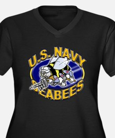 USN Navy Seabees Mad Bee Women's Plus Size V-Neck