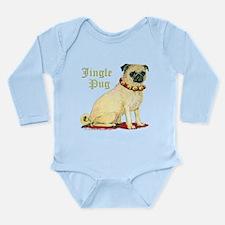 Adorable Jingle Pug! Long Sleeve Infant Bodysuit