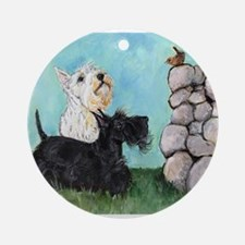 SCOTTIES and FEATHERED FRIEND Ornament (Round)