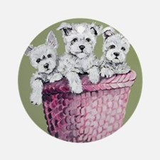 Basket of Westies!! Ornament (Round)
