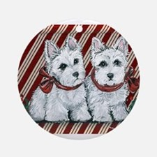 Candy Cane Westies Ornament (Round)
